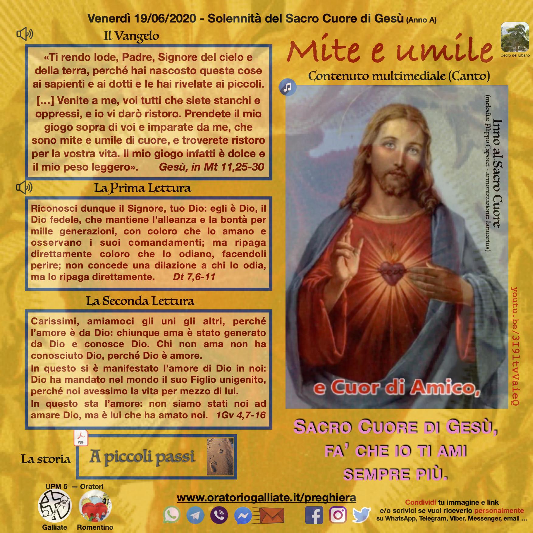 Mite e umile - 19 giugno 2020 - L'Oratorio di Galliate